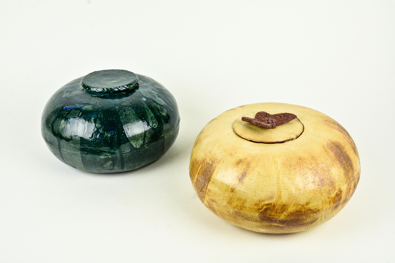 Groene pot met deksel-Geel/bruine pot met deksel