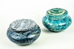 Blauwe pot met deksel -turquoise pot met deksel