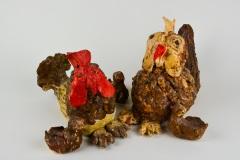 Bruine kippen met kuikens